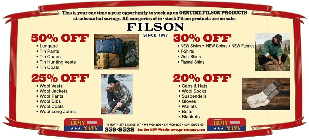 Up to 50% off Filson clothing and gear (newspaper ad)